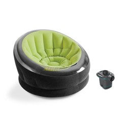 Intex Empire Lime Green Inflatable Blow Up Lounge Dorm Camping Chair & Air Pump
