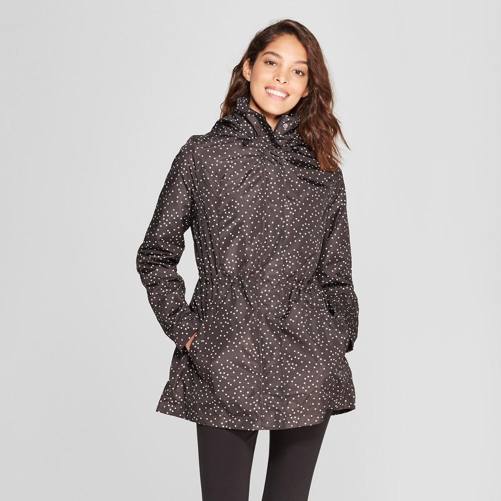 Women's Polka Dot Rain Jacket - A New Day Gray XL