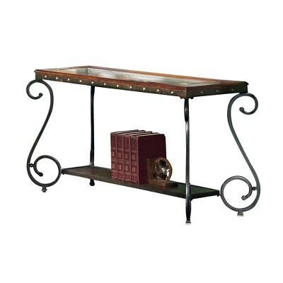 Ellery Sofa Table Wood and Metal Cherry - Steve Silver
