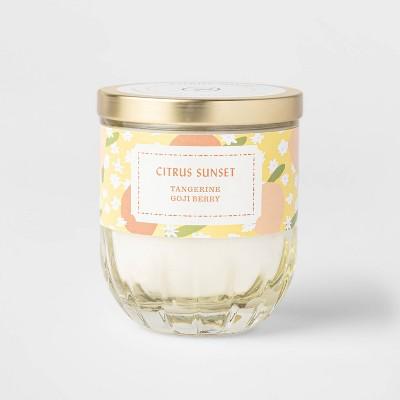 7oz Lidded Yellow Ribbed Base Glass Jar Citrus Sunset Candle - Opalhouse™