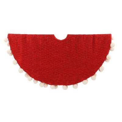 Pom Pom Christmas Tree Skirt Red - Wondershop™