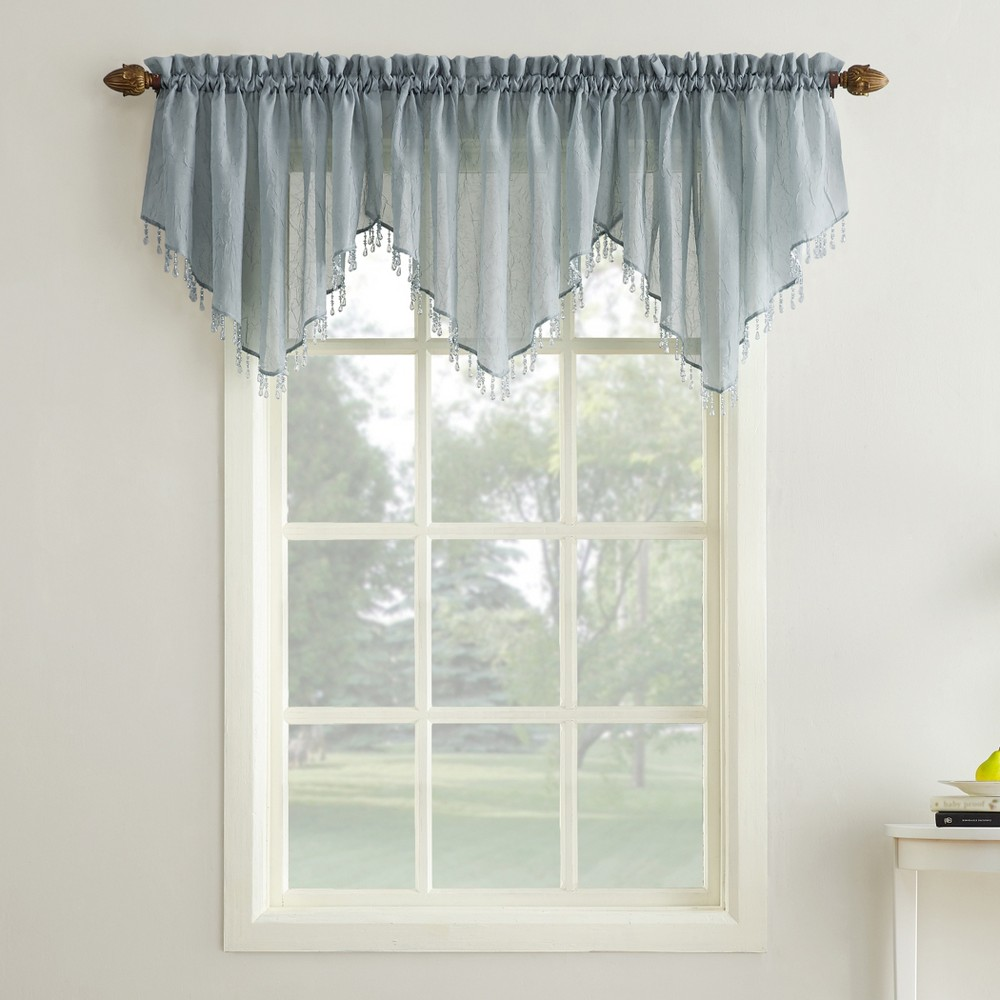 Erica Crushed Sheer Voile Beaded Ascot Curtain Valance Charcoal (Grey) 51x24 - No. 918