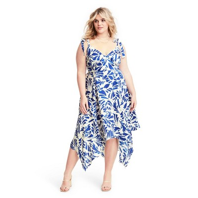 Botanical Tie Strap Asymmetrical Hem Dress - ALEXIS for Target Blue