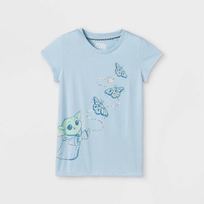 Girls' Star Wars Baby Yoda & Butterflies Cap Sleeve Graphic T-Shirt - Blue