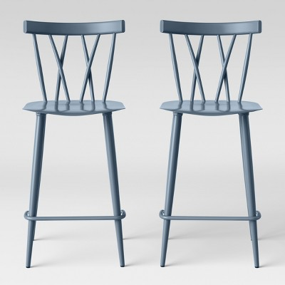 Set of 2 Becket Metal X Back Counter Height Barstool Light Blue - Project 62™