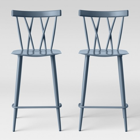 Magnificent Set Of 2 Becket Metal X Back Counter Stool Light Blue Project 62 Gmtry Best Dining Table And Chair Ideas Images Gmtryco