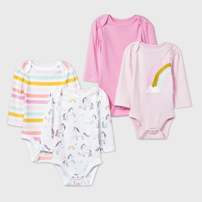 Baby Girls' 4pk Unicorn Adventure Long Sleeve Bodysuit - Cloud Island™ Pink/White 0-3M