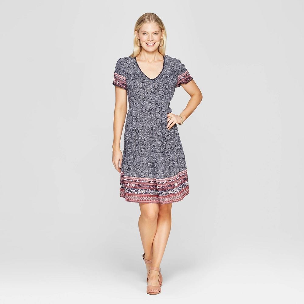 Women's Short Sleeve V-Neck Shift Midi Dress With Embroidery - Knox Rose Navy L, Blue