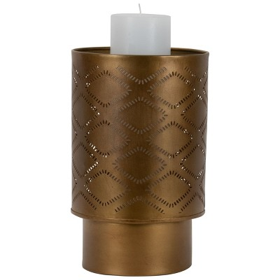 Antique Brass Pierced Metal Pillar Candle Holder - Foreside Home & Garden