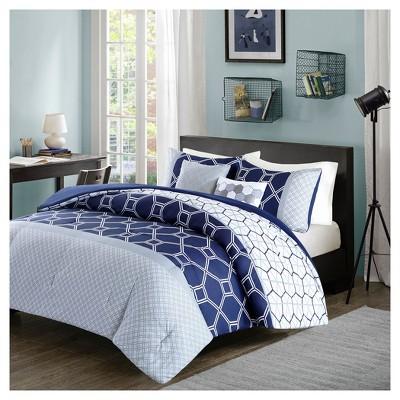Navy Sarah Comforter Set Full/Queen 5pc