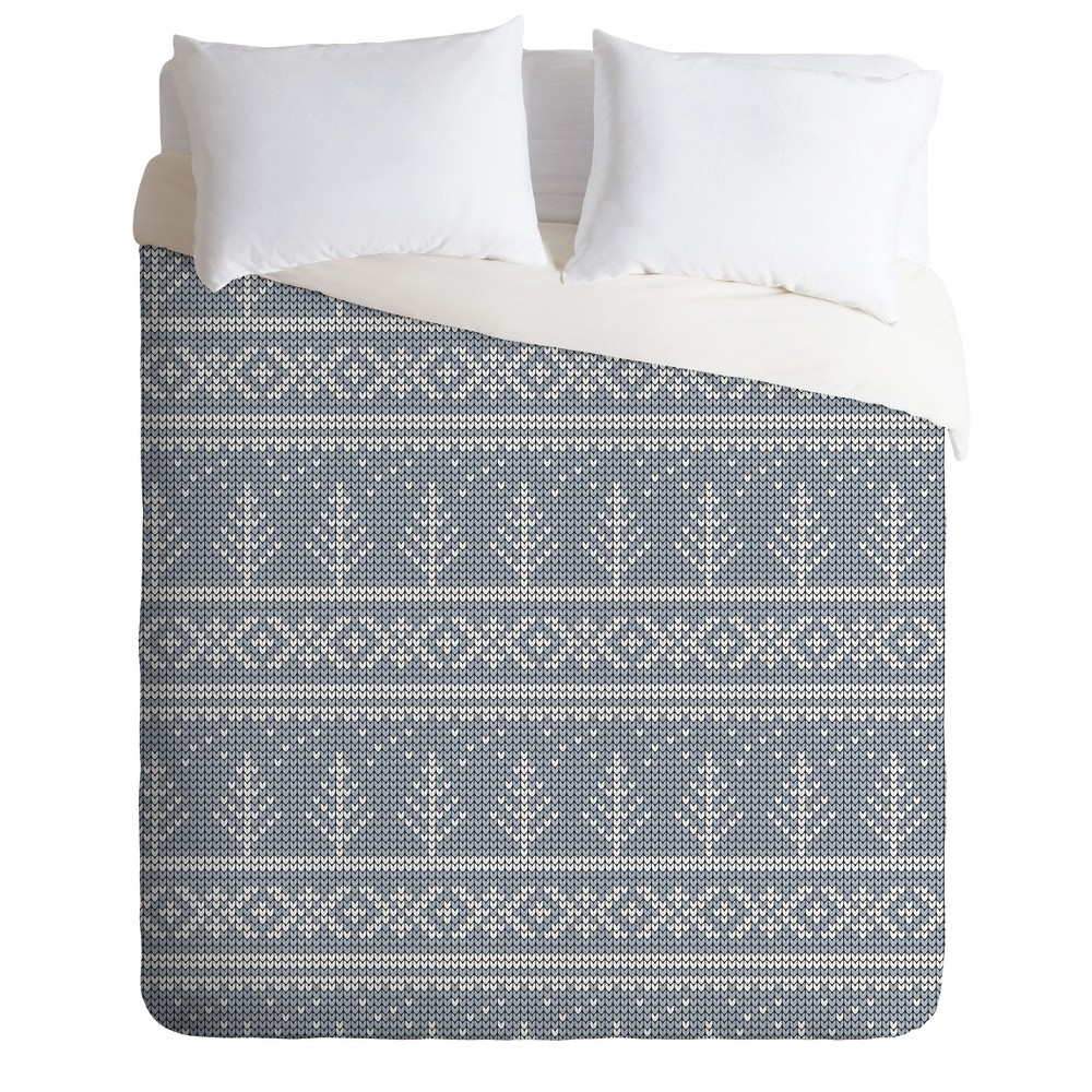 King Little Arrow Design Co Fair Isle Duvet Cover Set Blue - Deny Designs