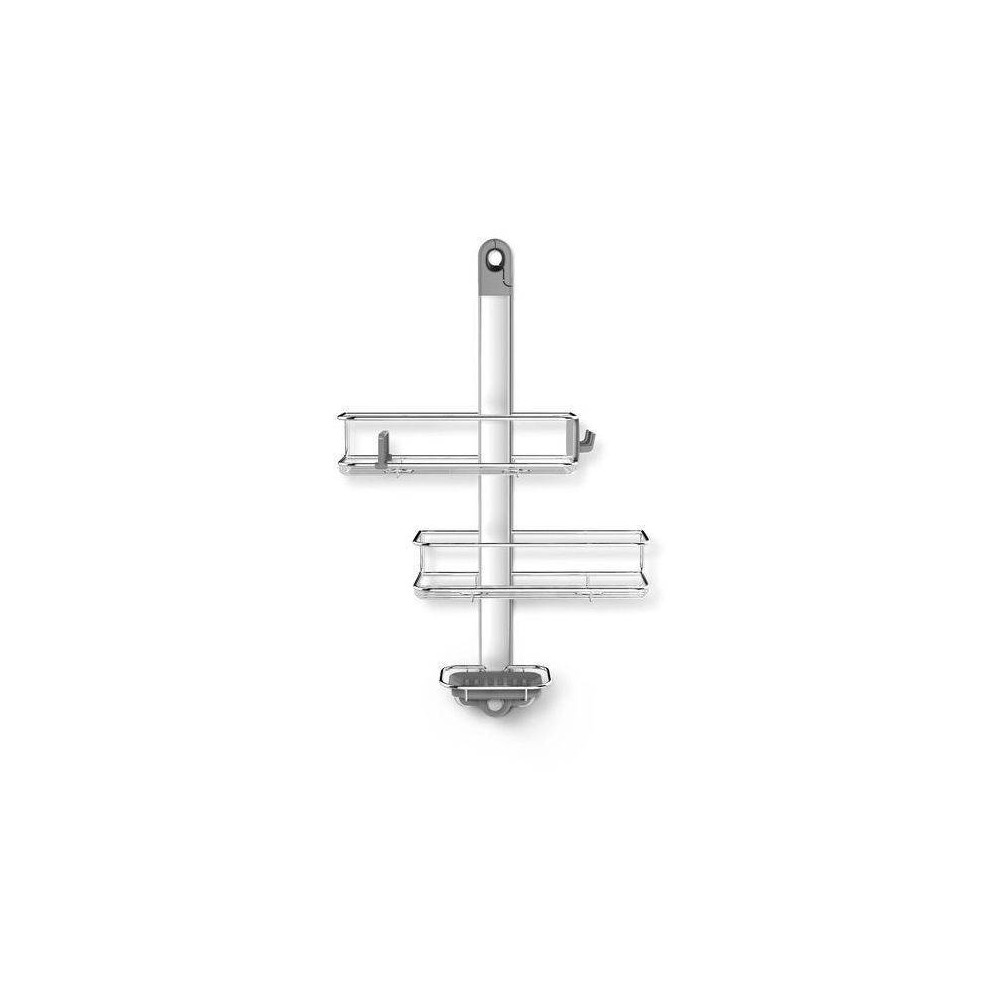 Image of Adjustable Stainless Steel and Anodized Aluminum Shower Caddy Medium Silver - simplehuman