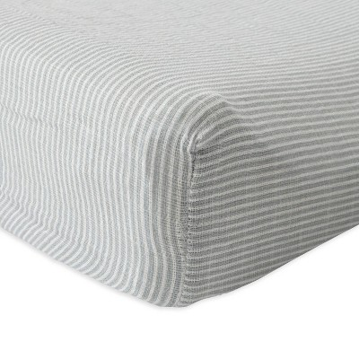 Red Rover Cotton Muslin Changing Pad Cover - Gray Micro Stripe