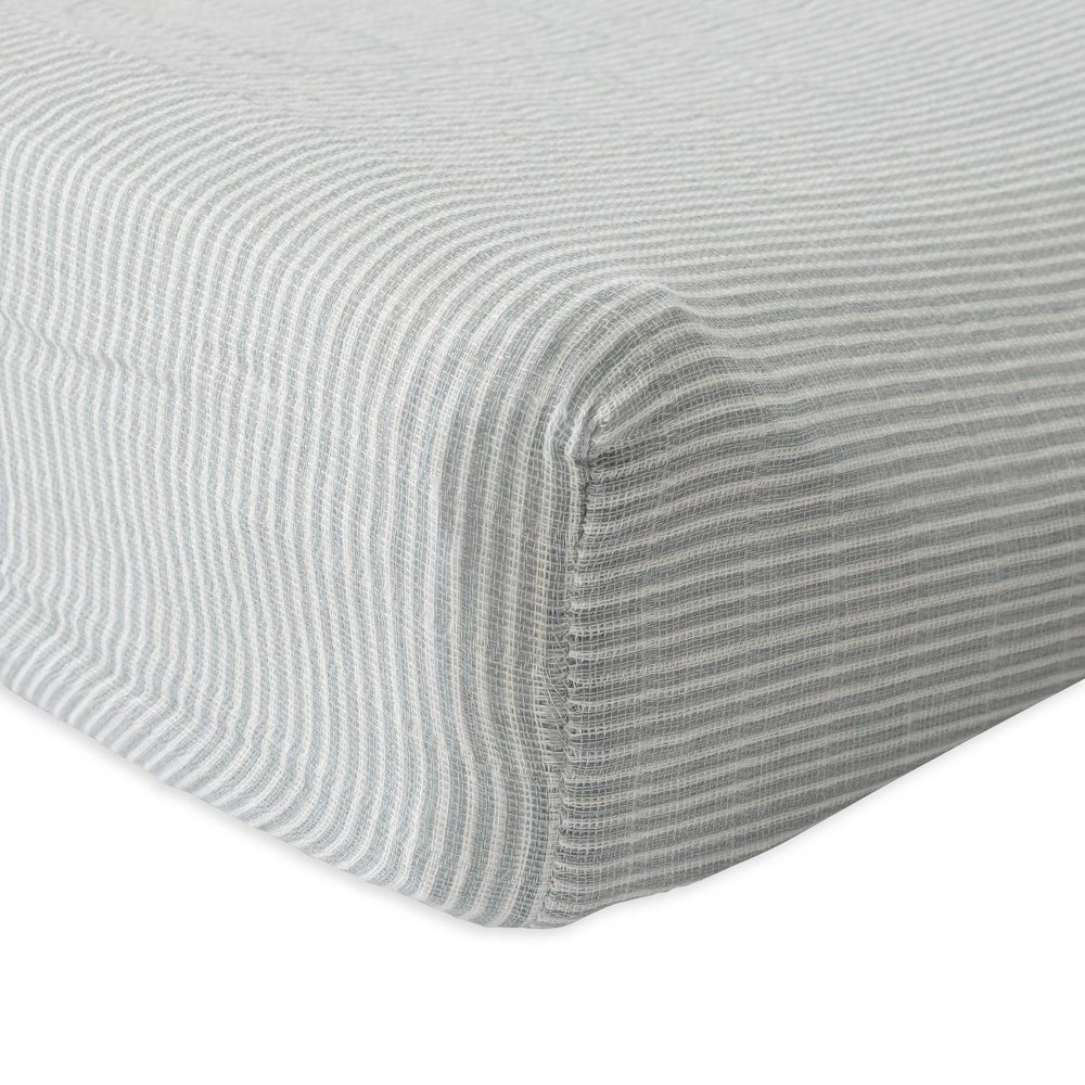 Image of Red Rover Cotton Muslin Changing Pad Cover - Gray Micro Stripe