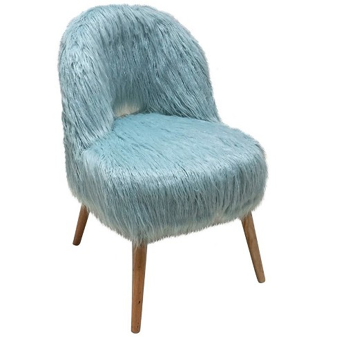 Faux Fur Accent Chair in Blue - Jeco - image 1 of 2