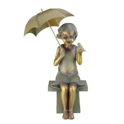 "Roman 17.5"" Girl Sitting with Umbrella and Bird Outdoor Patio Garden Statue - Gold/Bronze"