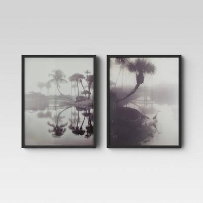 "(Set of 2) 12"" x 16"" Palm Tree Framed Print - Threshold™"