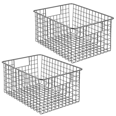 mDesign Bath Metal Storage Organizer Basket, 2 Pack