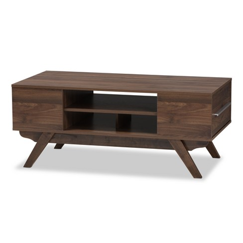 Ashfield Mid Century Modern Walnut Finished Wood 2 Drawer Coffee Table Brown - Baxton Studio - image 1 of 10
