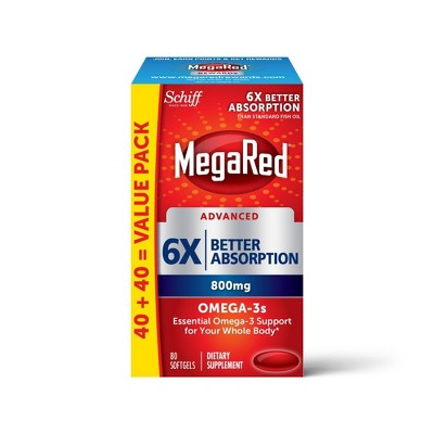 MegaRed Advanced Triple Absorption Omega-3 Fish Oil Supplement Softgels - 80ct