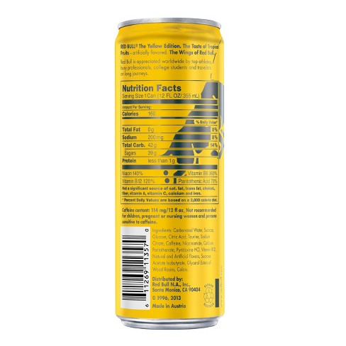 Red Bull Yellow Edition Tropical Punch Energy Drink - 12 Fl Oz Can : Target