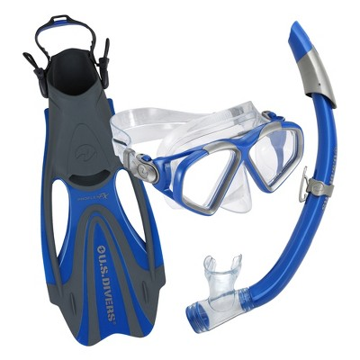 U.S. Divers Cozumel DX Seabreeze Adult Snorkeling Combo Set with Adjustable Mask, Snorkel, and X-Small Fins (Men's 3.5-5/Women's 5-6.5), Blue
