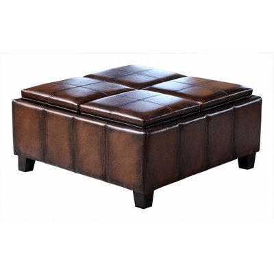 Vincent Leather Square Ottoman With 4 Trays Dark Brown   Abbyson Living