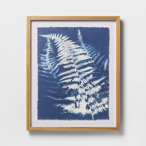 "16"" x 13"" Framed Floated Fern Watercolor Paper Print Blue/White - Threshold™ - image 1 of 4"