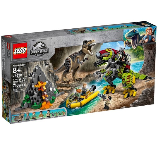 LEGO Jurassic World T. rex vs Dino-Mech Battle 75938 Battle Toy T. Rex Figure Building Kit 716pc image number null