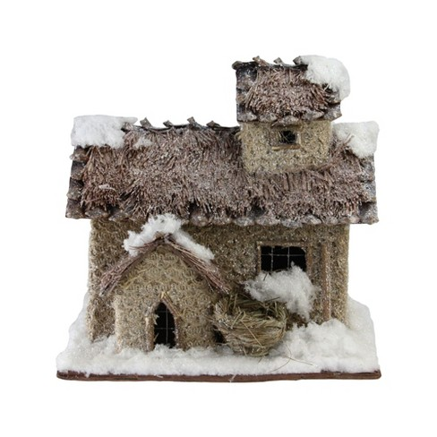 """Northlight 9.25"""" Rustic Two Story Snowy Cabin Christmas Decoration - image 1 of 3"""