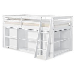 Roxy Junior Loft Bed With Pull-out Desk, Shelving And Bookcase