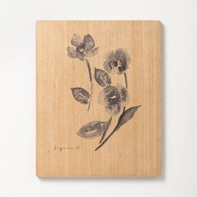 """8"""" x 10"""" Double Floral Stem Wood Slab Wall Art - Hearth & Hand™ with Magnolia"""
