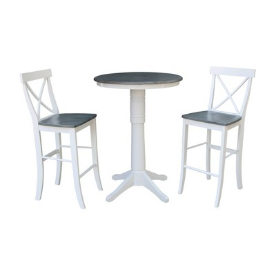 """30"""" Ida Round Pedestal Table with 2 X Back Barstools Dining Sets White/Heather Gray - International Concepts"""