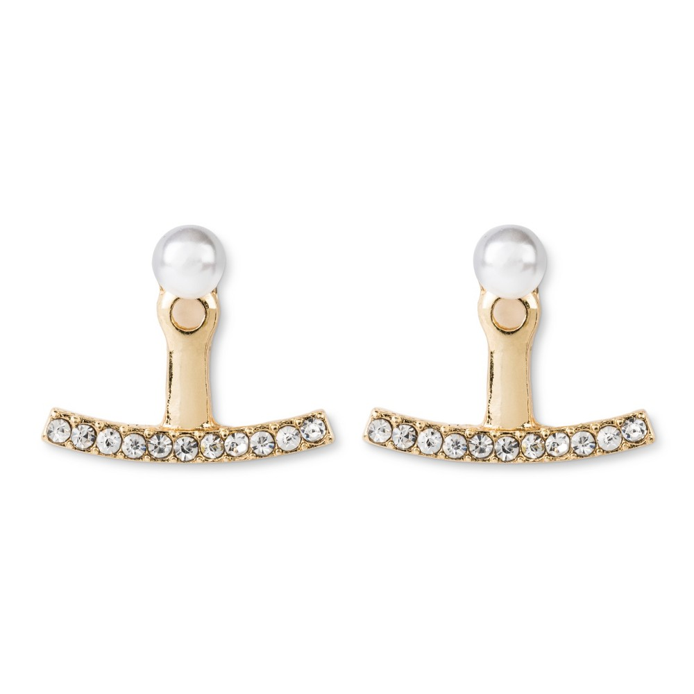 Simulated Pearl Jacket Earring with Pave Bar - Gold, Women's