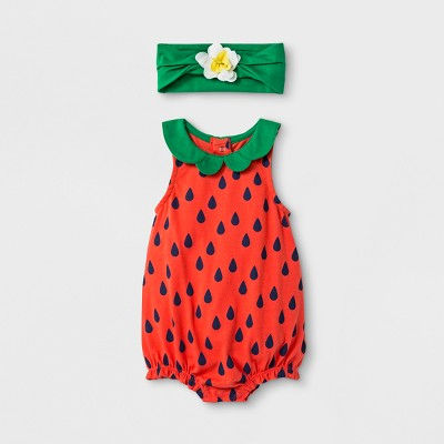 Baby Girls' 2pc Strawberry Romper and Flower Headband Set - Cat & Jack™ Red 0-3M