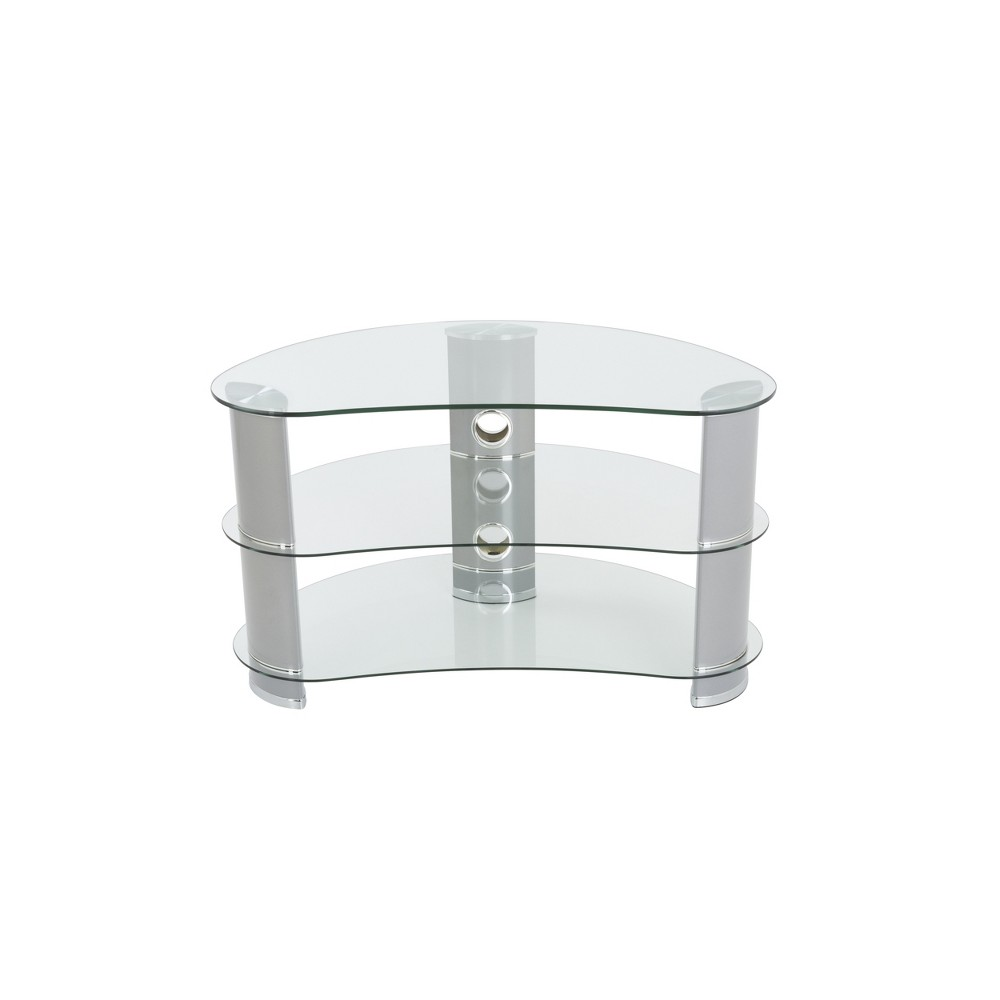 """Image of """"42"""""""" TV Stand with Glass Shelves - Silver/Clear"""""""