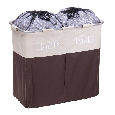 Honey-Can-Do Dual Laundry Hamper for Light and Dark Clothing Brown