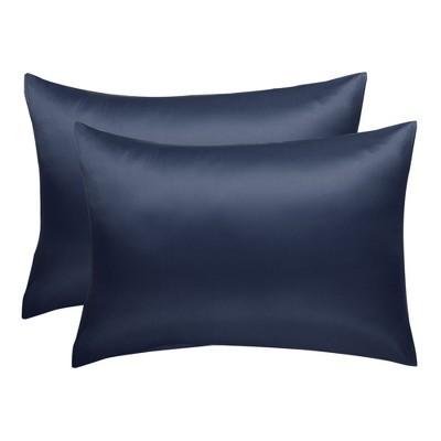 "2 Pcs 20""x36"" Silk Satin Envelope Pillow Cases Navy - PiccoCasa"