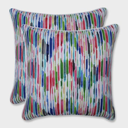 """18.5"""" 2pk Drizzle Summer Throw Pillows Pink - Pillow Perfect - image 1 of 2"""