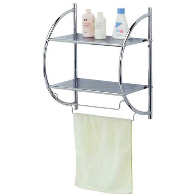 Home Basics 2 Tier Wall Mounting Chrome Plated Steel Bathroom Shelf with Towel Bar