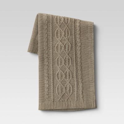 "50""x60"" Cable Knit Chenille Throw Blanket Sage - Threshold™"