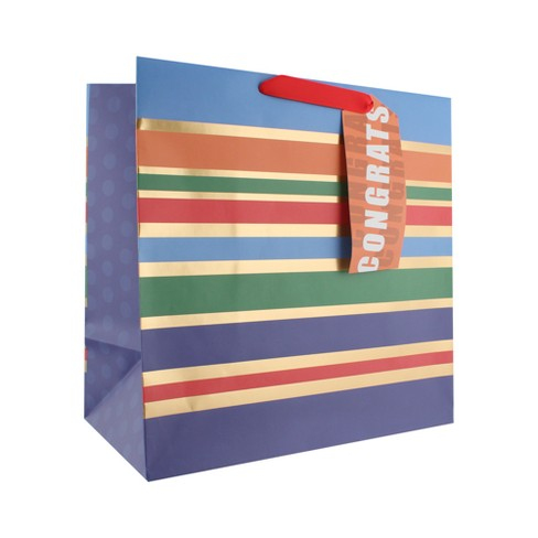 Stripes Congrats Square Gift Bag - Spritz™ - image 1 of 2