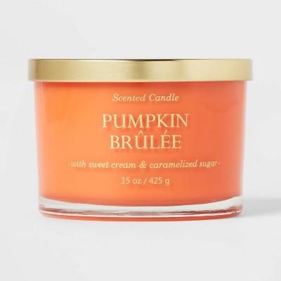 15oz Lidded Glass Jar Solid Orange 3-Wick Pumpkin Brulee Candle - Opalhouse™