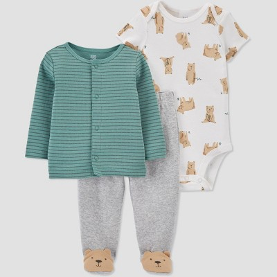 Baby Boys' 3pc Bear Top and Bottom Set - Just One You® made by carter's Green/Gray