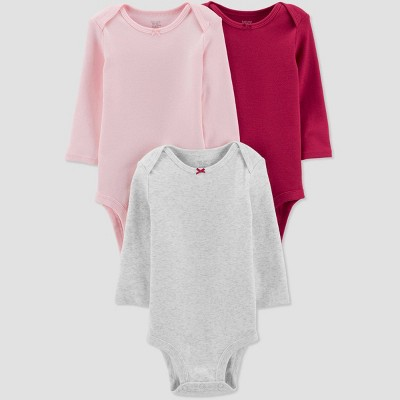 Baby Girls' 3pk Basic Long Sleeve Solid Bodysuits - Just One You® made by carter's Pink/Gray 3M