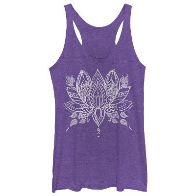 Women's CHIN UP Henna Lotus Flower Racerback Tank Top