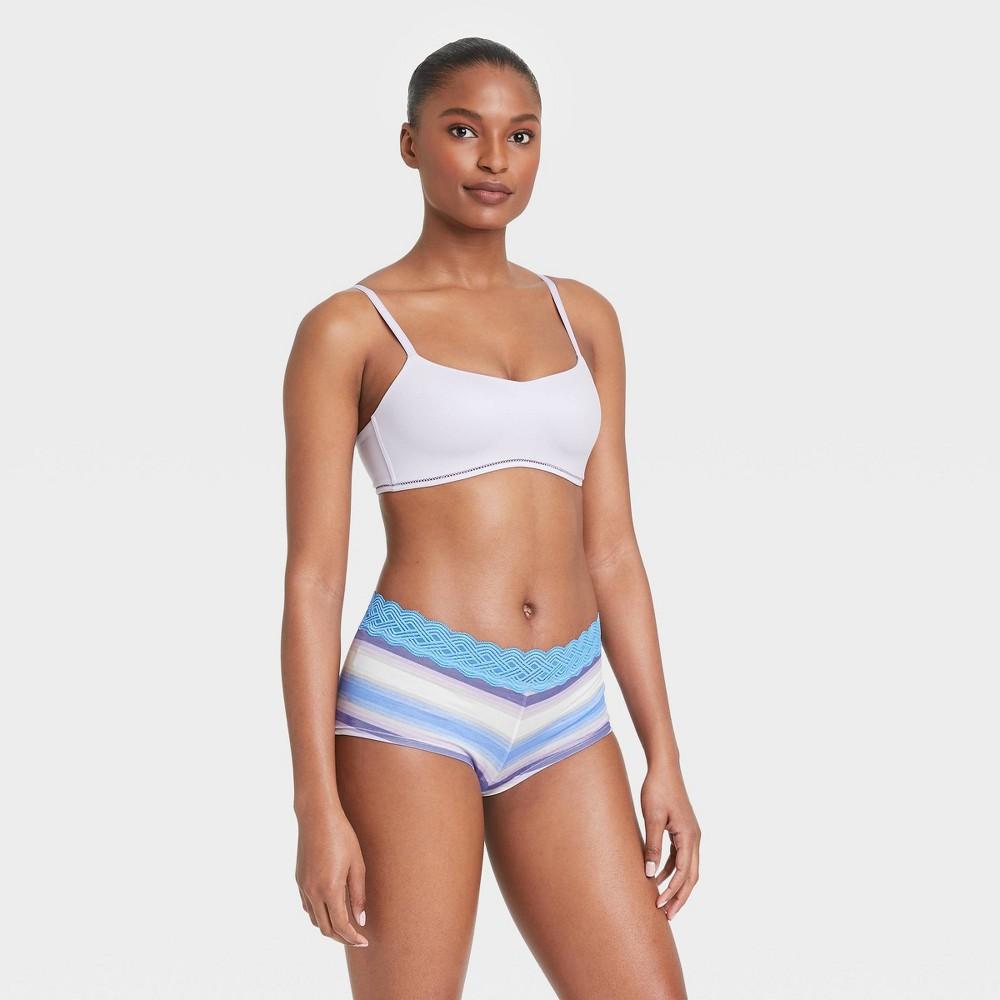 Women 39 S Striped Cotton Boy Shorts With Lace Waistband Auden 8482 Blue Ombre Xl