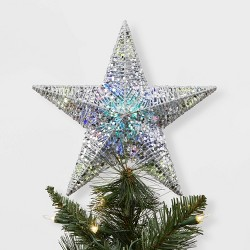 Sequin Wrapped Star LED Christmas Tree Topper Silver - Wondershop™