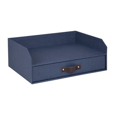 Walter Canvas Letter Tray with Drawer Blue - Bigso Box of Sweden