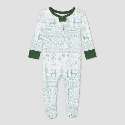 Infant Holiday 'Good Tidings' 1pc Pajama Green - Hearth & Hand™ with Magnolia 3M